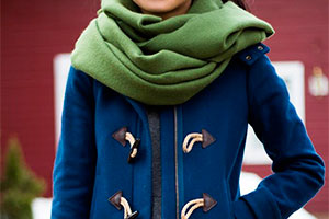 A scarf to suit the duffle coat — an addition to the style