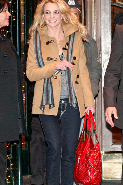 Britney Spears in duffle coat