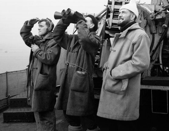 The royal navy in duffle coats
